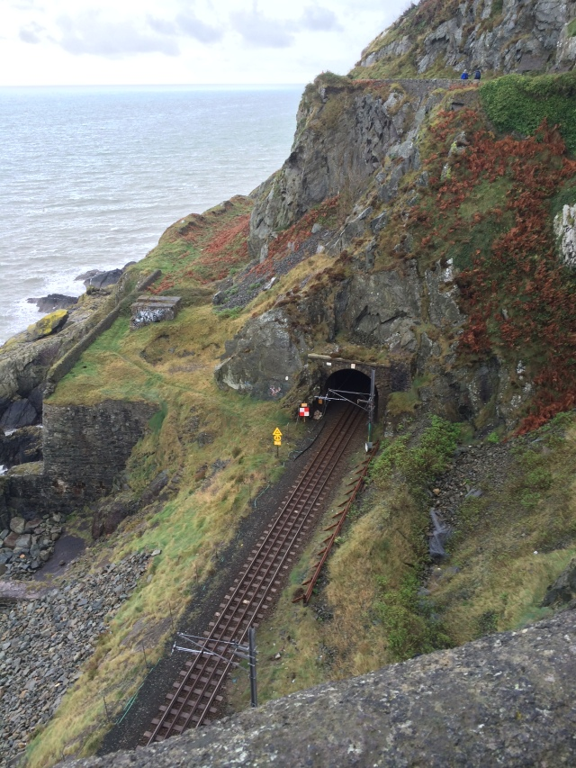 Looking down on the train track that runs along the coast between Greystones and Bray