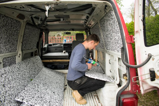 Fixing-insulation-to-the-inside-of-our-VW-T4-Transporter-Van