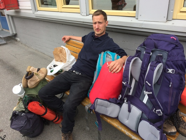 Backpacking-around-Norway-waiting-for-the-bus